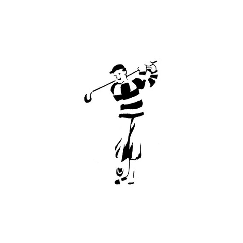 EZ Mounted Rubber Stamp Sport Golf Player Altered Art Craft image 0