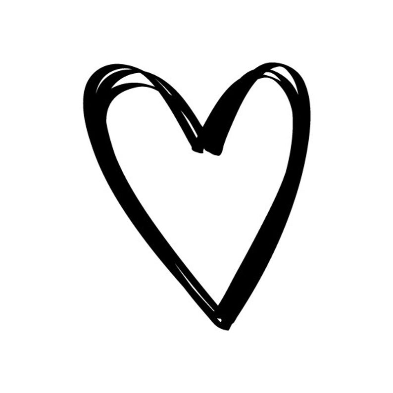 EZ Mounted Rubber Stamp Calligraphy Outline Hearts Altered Art image 0