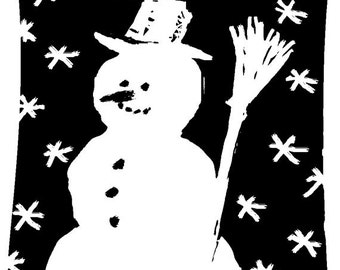 EZ Mounted Rubber Stamp Christmas Winter Snowman // Snögubbe // Altered Art Craft Scrapbooking Cardmaking Collage Supply