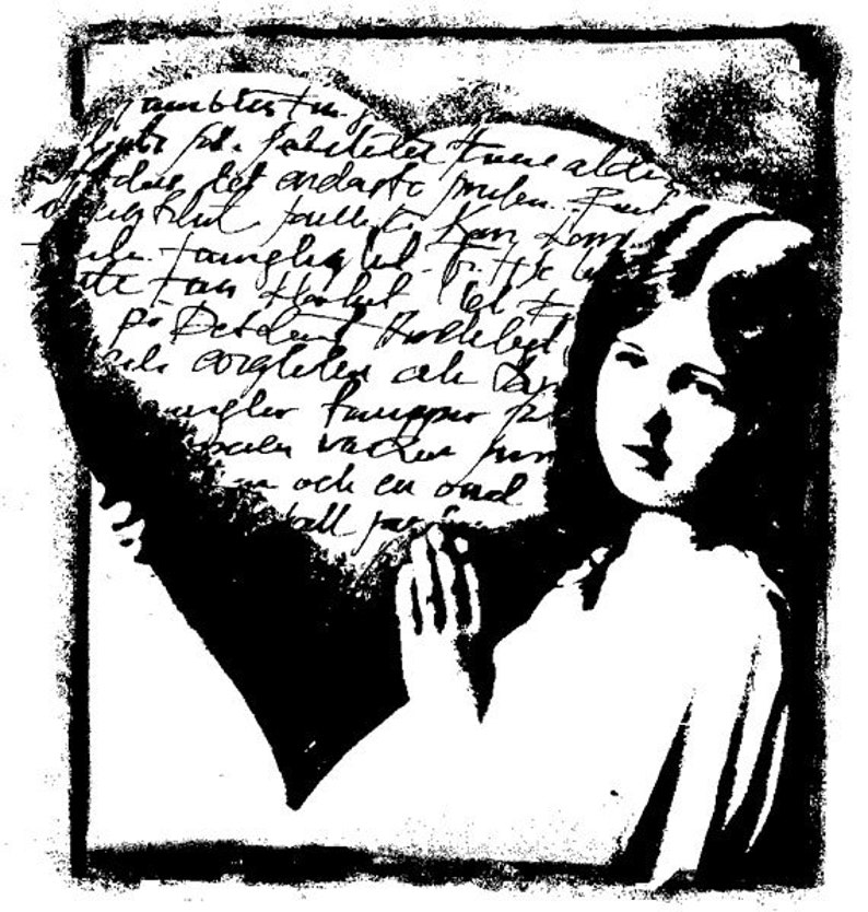 EZ Mounted Rubber Stamp Vintage Style Girl with Heart with image 0