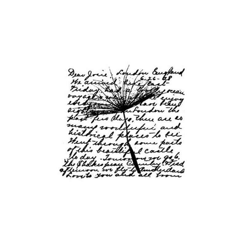 EZ Mounted Rubber Stamp Flower Dandelion Background Writing image 0