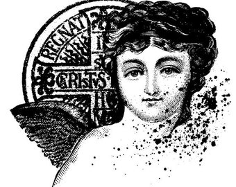 EZ Mounted Rubber Stamp Cherub with Cross Coin Altered Art Craft Scrapbooking Cardmaking Collage Supply.