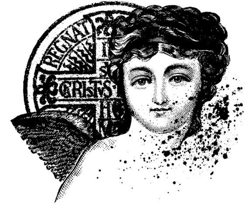 EZ Mounted Rubber Stamp Cherub with Cross Coin Altered Art image 0