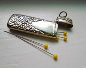 Antique Repousse Needle Case In Sterling Silver Needle Case with Raised Feather Design and Room for Engraved Initials
