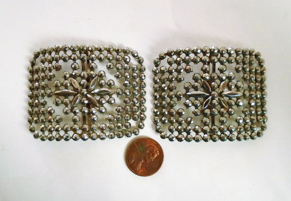 Steel Cut French Shoe Clips, Made in France, Vinta