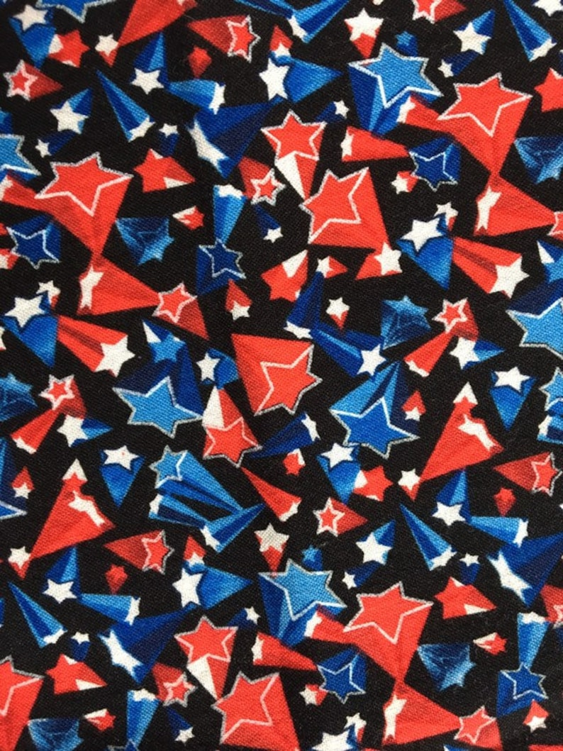 FUN-C 6011*Patriotic Cotton Fabric*Out of Print Fabric*Black Background*Red White Timeless Treasures Fabric Shooting Stars Blue*OOP