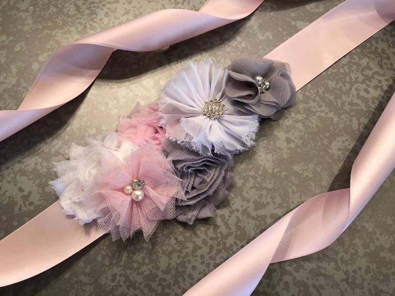013362264f7 Baby Shower de ceinture gris rose et blanc Sash ceinture de