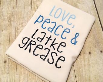 Love Peace Latke Grease Flour Sack Towel   Chanukah Towel   Hanukkah Towel   Hanukah Towel   Decorations   Chrismukkah   Holiday Gift