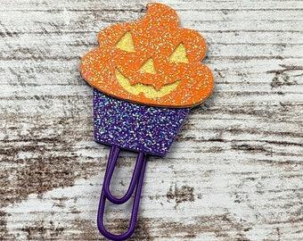 Jack-O-Lantern Cupcake Planner Clip - Cupcake Planner Clip - Cupcake PlannerClip- Cupcake Bookmark - Halloween Planner Clip