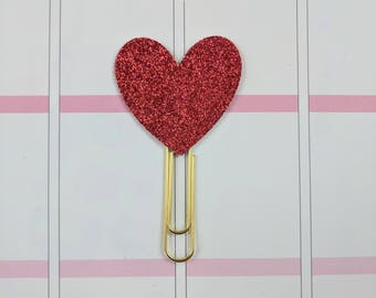 Red Glitter Heart Planner Clip