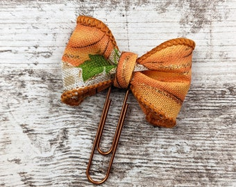 Small pumpkin Bow Planner Clip - Bow Planner Clip - Bow Bookmark - Orange Bow Paperclip