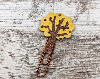 Yellow Fall Tree Clip - Tree Planner Clip - Tree Paperclip - Tree Plannerclip