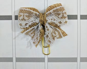 Lace and Burlap Bow Planner Clip
