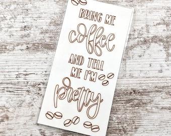 Coffee and pretty Quote Bookmark - Quote Bookmark - Bookmark - Quote Tab