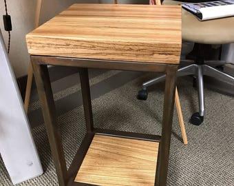 Charmant Zebra Wood Accent Table