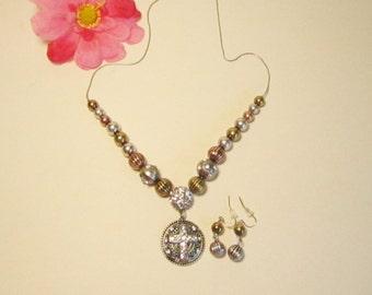 Rhinestone Silvertone Goldtone Slider Cross Necklace and Earrings   (#337)