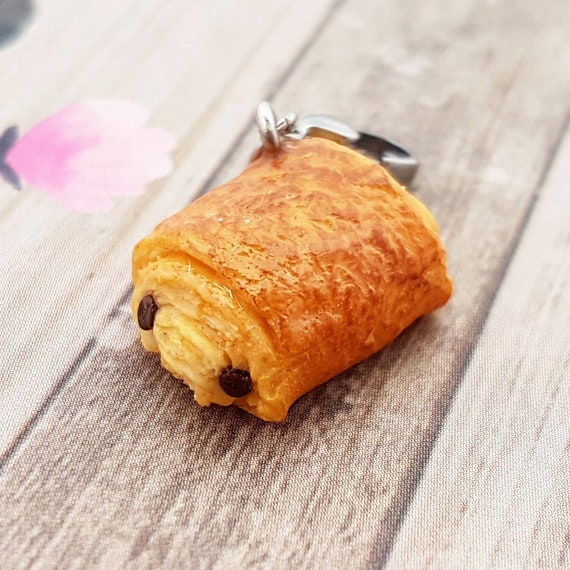 Handmade Chocolate Croissant Charm Polymer Clay Food French Pastry Miniature Food Jewelry Pain Au Chocolat