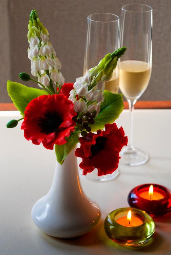 Lupine flower decoration red poppy flower arrangements white etsy image 0 mightylinksfo