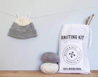 Baby Hat Knitting Kit, beginners knitting kit, toddler hat knitting kit. Roll Up Beanie: Colour Block