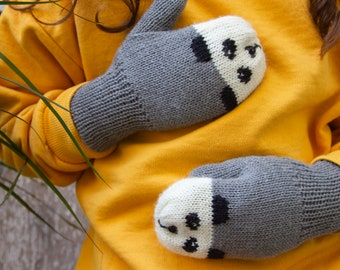 Panda Mittens - Grey | British wool | Size 0 - 5 Years