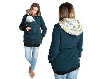 db903c4b36d6 LUNA 3 in1 babywearing coat Maternity Pregnancy Multifunctional Kangaroo  carrier Mom and Baby carrying jacket PETROL GREEN Valentines gift