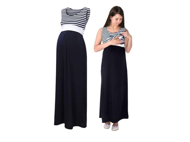 2b682a6e58d3d4 BLUE STRIPES Navy Casual Sleeveless Maternity MAXI dress