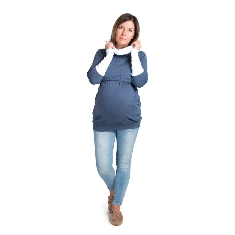 OLIVIA 3in1 Maternity Sweatshirt Multifunctional Nursing Breastfeeding Tunic WRAPAROUND Top with zippers  JeansWhite