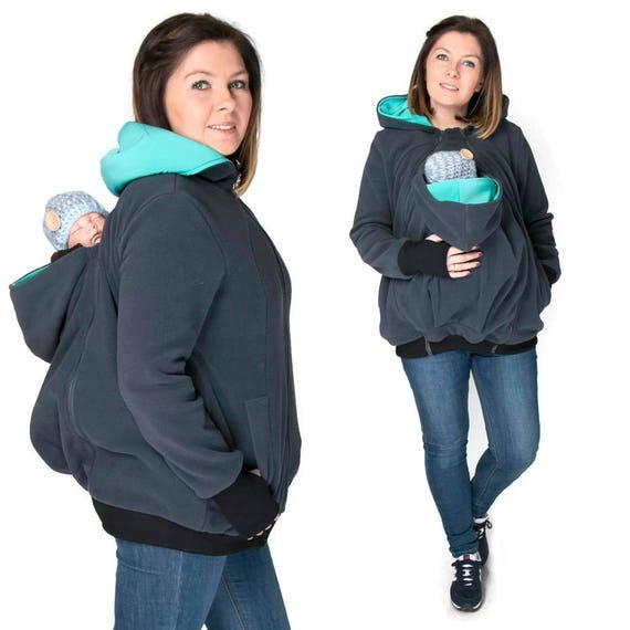 KOALA 3 en 1 Portage veste recto verso maternité grossesse multifonctionnel  Maman Kangourou et bébé, bébé portant Graphite Teal c54af2d6629