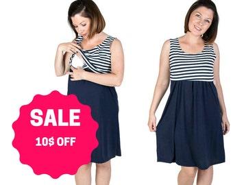 BLUE STRIPES/Navy Casual Sleeveless Maternity dress, nursing, breastfeeding dress, summer style WEEKEND