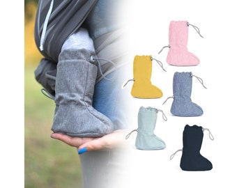 Fun2bemum 0-1 year Babywearing softshell boots, stay-put booties, carrier footwear, sling shoes, lined with polar fleece