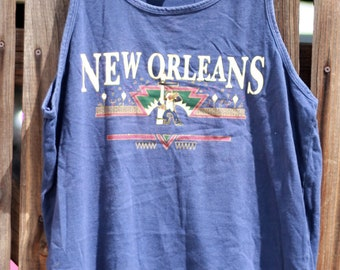 5d9e54d9452 Distressed Vintage 1990s New Orleans All American Star Navy Blue Graphic  Mens Unisex Large Navy Blue Tank Top