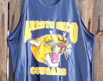 109582813537c9 Vintage 1980s Arroyo Seco Cougars Polyester Navy Blue Tank Top