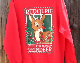 Vintage 1980s Rudolph the Red Nosed Reindeer Sweatshirt Large Ugly Christmas Sweater