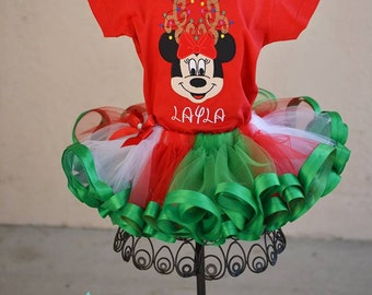 Disney Mickey Very Merry Christmas Holiday Personalized Tutu Set