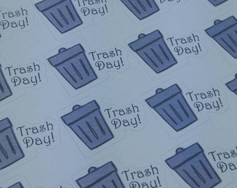 Trash day stickers, garbage day stickers, trash can, planner stickers, 106