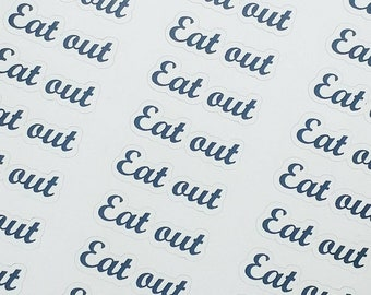 Eat out planner stickers, foiled script stickers, choose your foil!