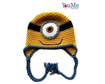 Handmade crochet minion one eye hat - custom made