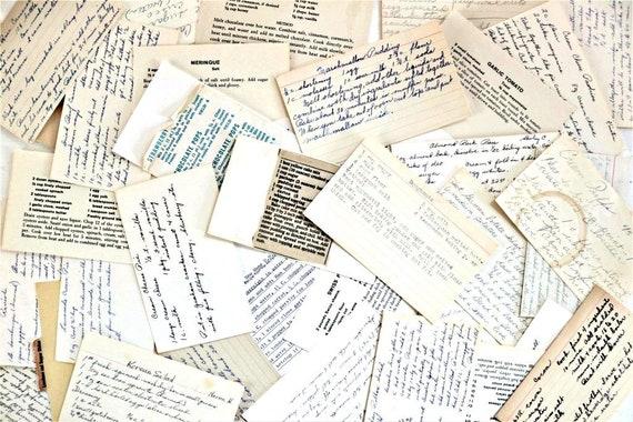 Old Recipe Cards vintage recipe cards antique paper | Etsy