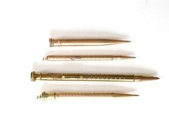 Vintage Mechanical Pencils, gold tone mechanical pencil , victorian pencils, vintage pencil lot #213-t0