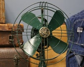Vintage Antique GE General Electric Fan Army Military Green Brass Emblem 3 speed Oscillating Electric Fan 12 quot blades Desk Table Kitchen