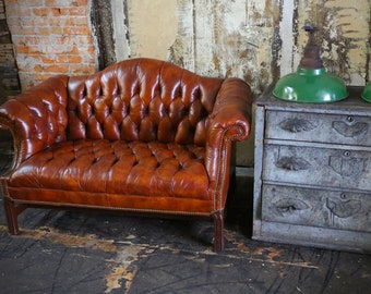 Vintage Tufted Button Chesterfield Sofa Loveseat Cigar Leather Brown Antique  Furniture Couch Loft Restaurant Decor Law Office Lawyer Design