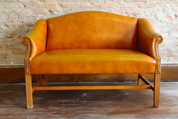 Vintage Orange Sofa Loveseat Couch Studded Arm Chair Etsy