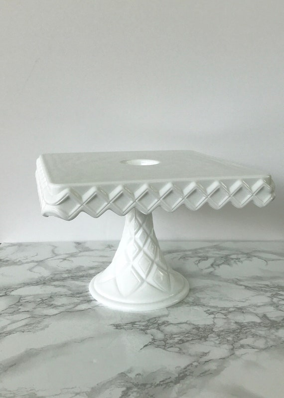 Vintage Square Milk Glass Cake Stand With Diamond Pattern Etsy