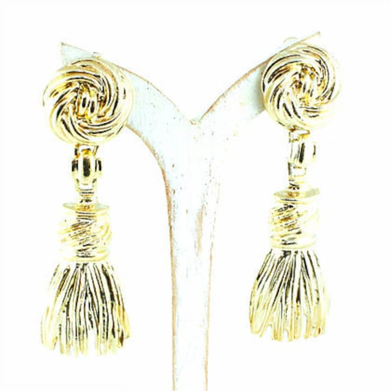 Gold Tassel Vintage Clip On Earrings