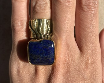 Lapis Lazuli Brass Abstract Tentacle Finger  Adjustable Ring