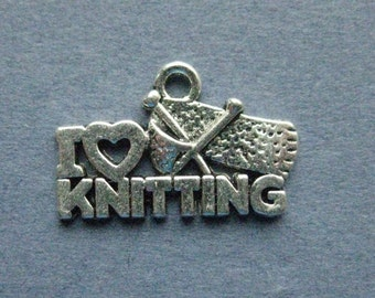 10 I Love Knitting Charms - I Love Knitting Pendants - Knitting Charms - Antique Silver - 13mm x 20mm --(I6-12170)