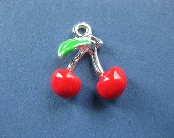 US Seller 4 or 12 pcs Red Cherry Rockabilly Enamel Charms EN533