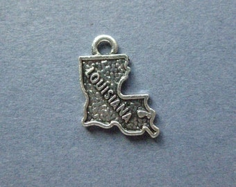 BULK 20 Louisiana charms antique silver tone WT153
