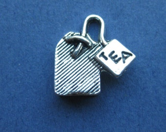 5 Tea Bag Charms - Tea Bag Pendants - Tea Charms - Tea - 3D - 15mm x 15mm -- (X7-10204)