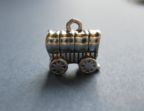 Sterling Silver mobiliers 3-D Wagon couvert charme
